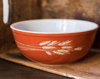 Vintage Pyrex 404 Autumn Harvest Burnt Orange Nesting Mixing Bowl