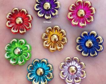 20PCS 16mm AB Acryls Flower Rhinestone Flatback Wedding Button Resin Flatback Button Craft Sewing Button Scrapbooking Cabochon flatback
