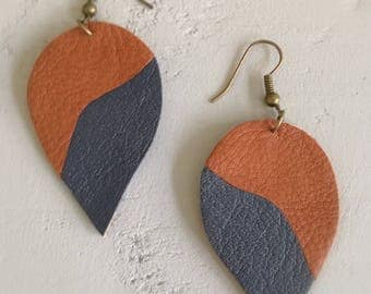 leather, Brown and blue earrings