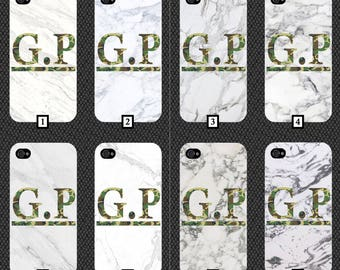 Personalised White Marble Phone Case With Large Green Camo Initials  Customised Cover Cheap Design Effect Stone Your Personalise