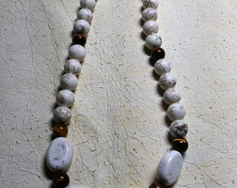 """Magnesite (also known as """"white turquoise"""" and tigers eye 18 inch necklace with lobster claw clasp"""