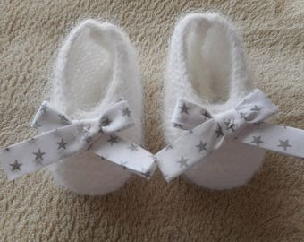 White wool baby booties and bow Silver Star.