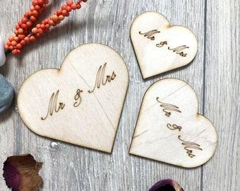 Wooden Mr&Mrs Hearts Plywood Scrapbooking Embellishment Wedding Rustik Decor