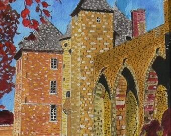 Castle Farcheville:Essonne:tableau acrylic + watercolor and gouache