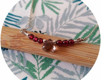 Colorful gemstones and 925 sterling silver necklace