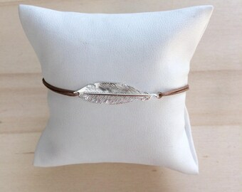 925 sterling silver feather bracelet cord