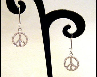 Peace and love Silver 925/zirconia earrings