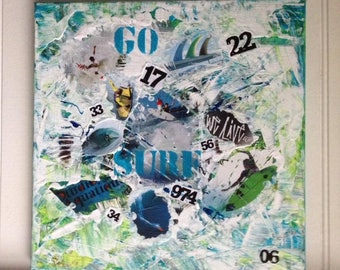 GO surfing LIVE shiny acrylic and collage