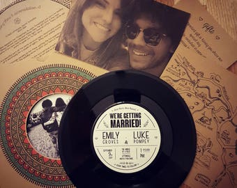 Personalised 7 Inch Vinyl Record Wedding Invitation Set - Boho / Vintage