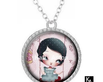 Necklace silver color with round pendant + chain pattern swing (1429) - girl, child