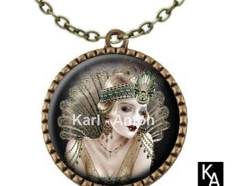 Bronze colored necklace with round pendant + chain pattern Lady Mary (746)