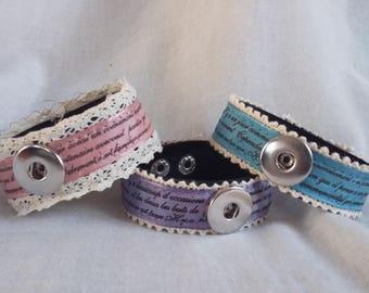 Pink snap lace 1 bracelet