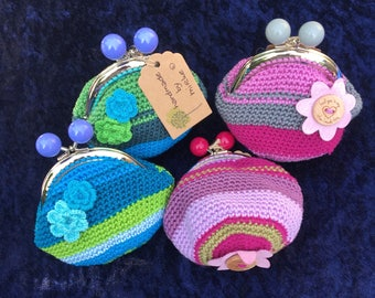 Crochet purse for money, make-up, sewing-goodies, medicine, etc. Nice gift