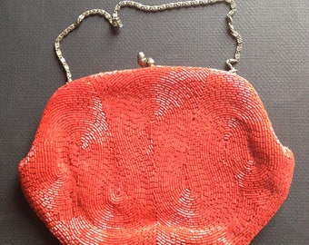 Vintage red beaded clutch. Made in Japan. Richere Label