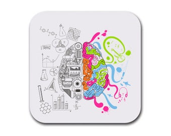 Brain Creative Science Coaster Set of Six - Joke Gift Coasters for Drinks - Absorbent | Furniture Safe - Anatomy Gifts Quality Neoprene