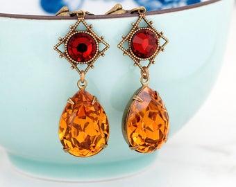 Orange Earrings, Red Crystal Earrings, Orange Rhinestone Earrings Drop, Swarovski Crystal Jewelry, Orange Crystal Dangle Earrings, Clairene