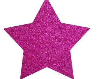 10 X 9.5 cm pink glittery star fusible pattern