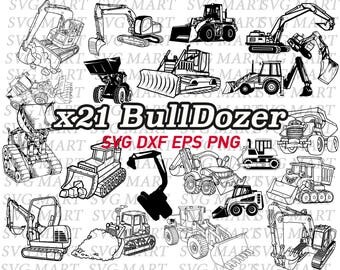bulldozer svg, construction vechice, clipart, png, eps, dxf, silhouette, line art, work vehicle, stencil, vinyl, decal, printable