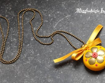 """Necklace polymer clay and satin """"Flower and bow"""" yellow"""