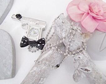 ♥ Watch necklace Metal Silver pistol Rose aluminum Black polka dot fabric bow ♥