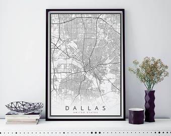 Dallas Map, Minimalist Map Print, Minimal Map, Dallas, Poster, Modern Map Print, Modern map art poster in size 50x70cm fits Ikea frame