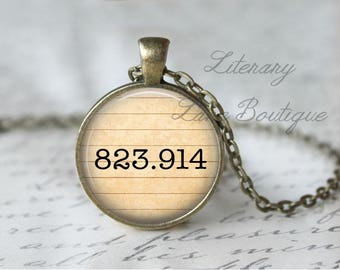 Rowling '823.914' Dewey Decimal, Library Books, Reading Necklace or Keyring, Keychain.