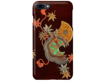 """iPhone case  """" Design of Maple Leaves and Bugaku Hat from the Tale of Genji""""  iPhone5/5s/SE/6/6s/6Plus/6sPlus/7/7Plus/8/8Plus/X"""