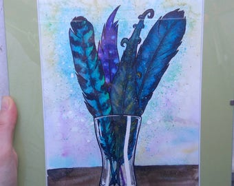 Bouquet of colorful feathers - original watercolor painting