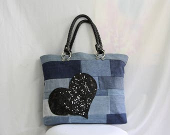 denim with Heart Rhinestone appliqué patchwork bag