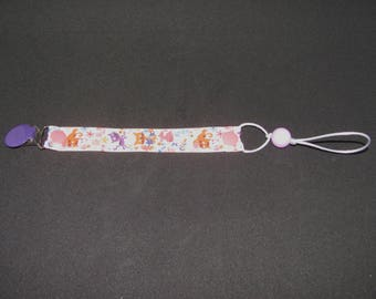 Pacifier clip cute kitties and flowers