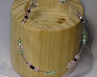Pink and green glass beaded bracelet