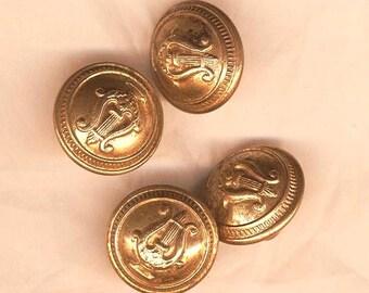 Four vintage lyre shaped ball, lyre vintage buttons buttons, old metal buttons, buttons collection