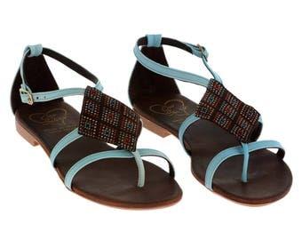 Light Blue Low Heel Thong Sandal
