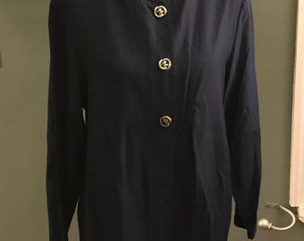 Maggie Lawrence Collection Navy Vintage Blouse with Silver button Detail Medium
