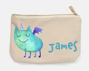 Cute Monster Personalized Pencil Case for Back To School, Boys Pencil Case