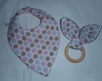 bib bandana and rattle bunny ears, ideal birthday gift