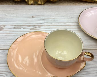 Salmon pink cup and saucer, cup and snack plate, vintage china, 1950's tea set, kitsch tea set, peach china cup, rate tea cup set.