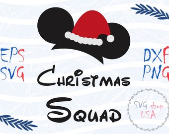 Christmas Squad Mickey Mouse  Svg Dxf Png Eps cut files for Cutting Machines Cameo or Cricut
