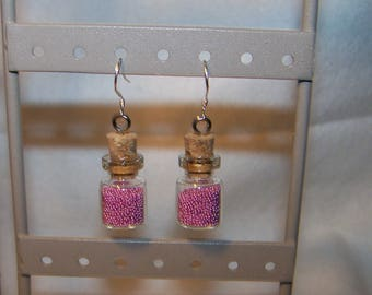 Pink earrings mini flask or flask MICRO beads