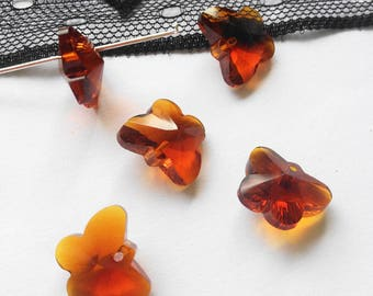 SWAROVSKI Crystal, 2 Butterfly 15x12mm (PGC2) cognac color beads
