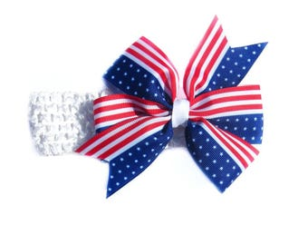 Headband with bow Big bow headband Baby head wrap Top knot headband Patriotic stretchy headband America headband Holiday baby bow headband
