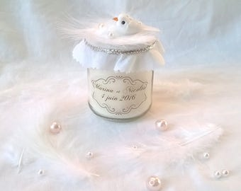 Candle favor wedding Dove feather beads