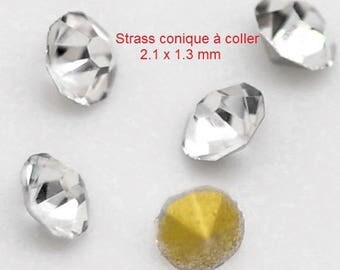 Set of 25 rhinestones faceted conical stick back