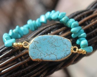 Turquoise on Turquoise Stretch Bracelet