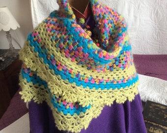 Shawl crochet half granny square with bright colors