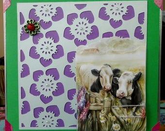 cow 3D cut amid flowers card