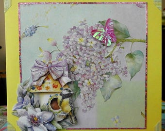 chickadee on a background of lilac flower 3D card