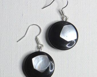 White Pearl Earrings on black galalith - #769
