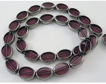Set of 10 glass beads, purple & silver, 11 x 8 mm, 4 mm, hole 1 mm thick