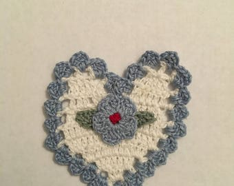 White Crochet Heart with Blue Accents